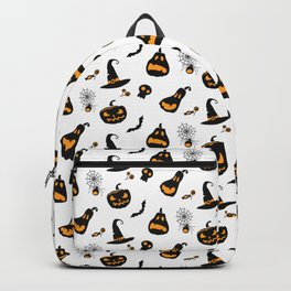 Halloween pattern with pumpkins and bats Backpack