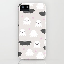 Kawaii breeze halloween ghosts and bats fright night horror iPhone Case