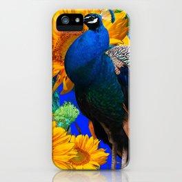 #2 BLUE PEACOCK &  SUNFLOWERS BLUE MODERN ART iPhone Case