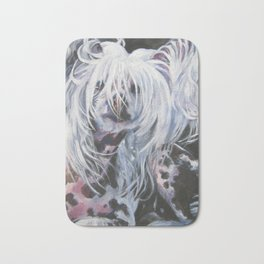 Chinese Crested Dog portrait art from an original painting by L.A.Shepard Bath Mat