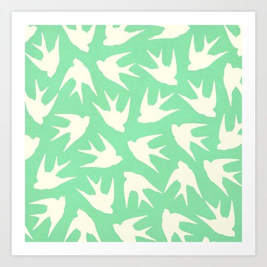 Birds (Pistachio) Art Print