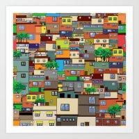 rio de janeiro Art Prints featuring Favela, Rio de Janeiro by Rceeh