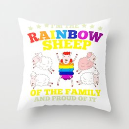 LGBT pride rainbow sheep family gift Throw Pillow