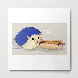 Hedgehog vs Chili Dog Metal Print