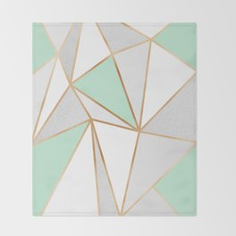 Mint Green, Grey & Gold Geo Throw Blanket