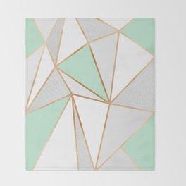 Mint Green, Grey & Gold Geo Throw Blanket
