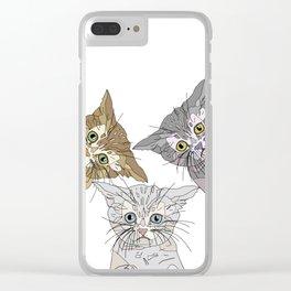 Triple Kitties - Three's Company Clear iPhone Case