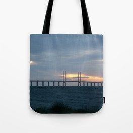 Sunset behind Oresund Bridge  Tote Bag