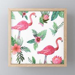Flamingo Floral Tropical Framed Mini Art Print
