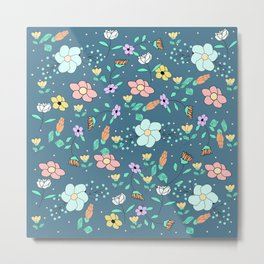 Flower pattern with blue background Metal Print