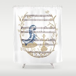 "Who Are You?  (blue caterpillar from Lewis Carroll's ""Alice's Adventures in Wonderland"") Shower Curtain"