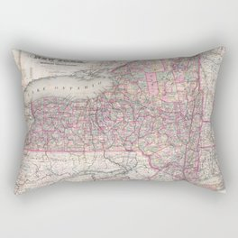 Vintage New York State Railroad Map (1876) Rectangular Pillow