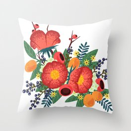 Oranges and Blueberries Throw Pillow