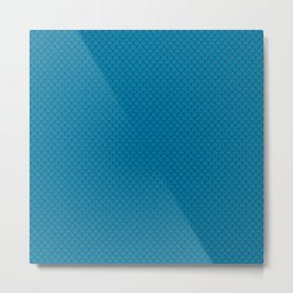 Cerulean Blue Scales Pattern Metal Print