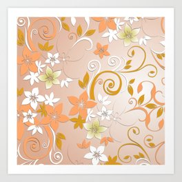 Flowers wall paper 8 Art Print