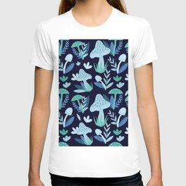 Mushroom Forest in Blue  T-shirt