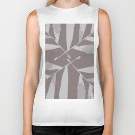 Geometric silver tan brown light grey Palm leaves autumn fall tropical pattern society6 Biker Tank