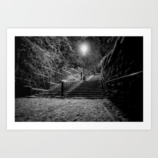 The Steps In The Snow Art Print