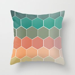 Colorful Hexagons Throw Pillow