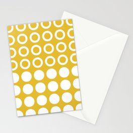 Mid Century Modern Circles And Dots Mustard Yellow Stationery Cards