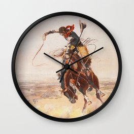 A Bad Hoss by Charles Marion Russell (c 1904) Wall Clock