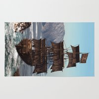 pirate ship Area & Throw Rugs featuring Pirate Ship by Simone Gatterwe