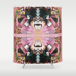 let them eat cake! a pink and green paper collage Shower Curtain