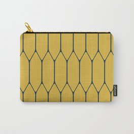 Long Honeycomb Minimalist Geometric Pattern in Navy Blue and Light Mustard Carry-All Pouch