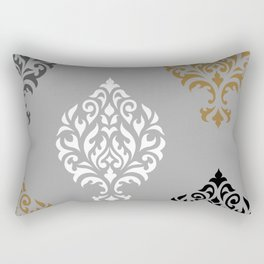 Orna Damask Art I BW Grays Gold Rectangular Pillow