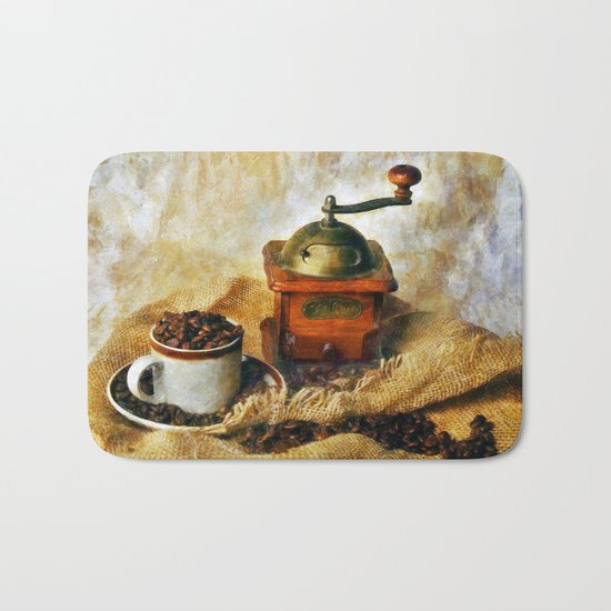 Coffee Grinder and Coffee Cup Bath Mat