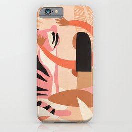 The Fearless Hug - Girl and Tiger  iPhone Case