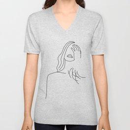 Posing girl Unisex V-Neck