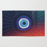 evil eye Area & Throw Rugs featuring Evil Eye by DuckyB
