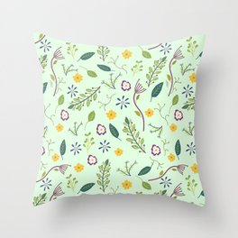 Floral Greenery Pattern I Throw Pillow