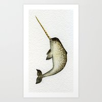 narwhal Art Prints featuring Narwhal by Kirsten Sevig