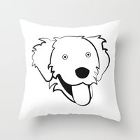 golden retriever Throw Pillows featuring Golden Retriever by anabelledubois