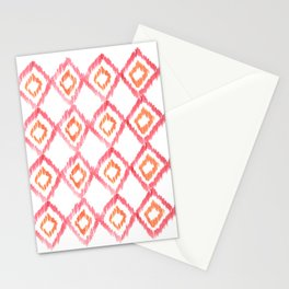 Fiery Coral - aztec watercolour pattern Stationery Cards