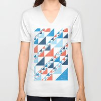triangles V-neck T-shirts featuring TRIANGLES  by parallelish