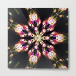 Purple & Green Fire Snowflake Metal Print