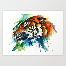 Orange Mad Tiger Watercolor Art Print