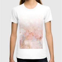 Beautiful Pink and Gold Ombre marble under snow T-shirt