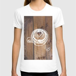 Rustic Country Kitchen Art Brown Woodgrain Barnboard  Coffee Beans Latte Coffee Cup T-shirt