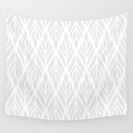 Grey Abstract Paisley Feathers Wall Tapestry
