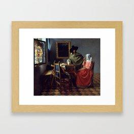 "Johannes Vermeer ""A Lady Drinking and a Gentleman"" Framed Art Print"