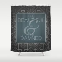 fitzgerald Shower Curtains featuring The Beautiful & The Damned - F.Scott Fitzgerald by Bookish Prints