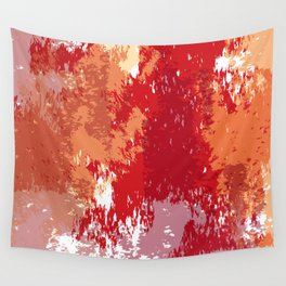 Red Orange Watercolor Wall Tapestry