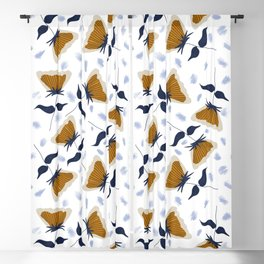 Gold and White Flowers with Blue Blackout Curtain