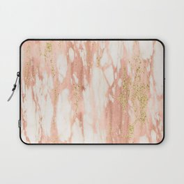 Rose Gold Marble - Rose Gold Yellow Gold Shimmery Metallic Marble Laptop Sleeve