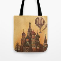 moscow Tote Bags featuring Moving to Moscow by Terry Fan