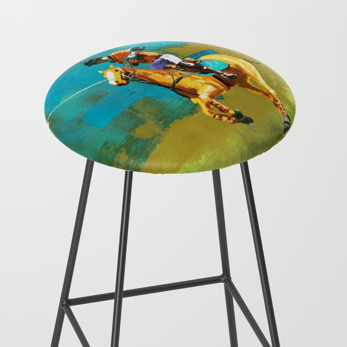 poloplayer abstract turquoise ochre Bar Stool